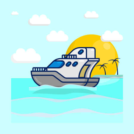 Vector illustration of an cruise boat saling on the sea, with clouds, sun, and small island as background