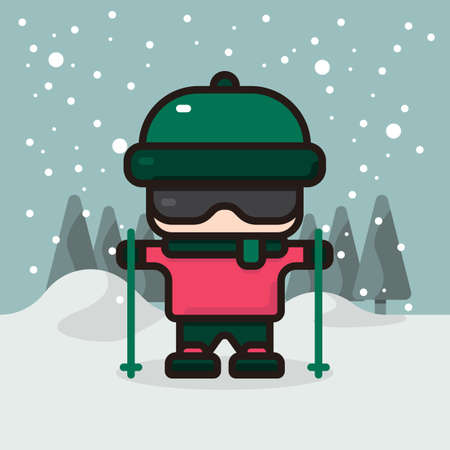 Vector illustration of a kid wearing ski hat, glasses, and board, while holding a pair of ski pole in christmas day during winter snow Illusztráció