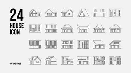24 House Icon In Outline Style