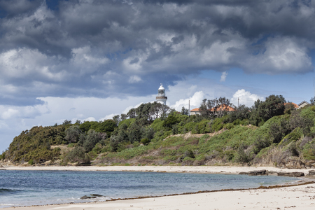 Norah Head Beach with Light house in Background Фото со стока - 100346292