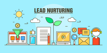 Lead nurturing vector marketing concept