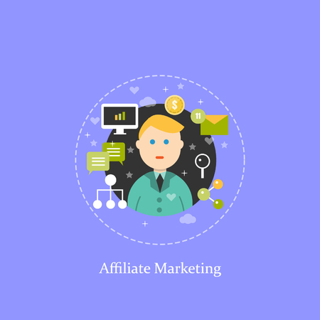 affiliate marketing: Affiliate marketing, digital marketing concept illustration