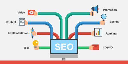 Search Engine Optimization - Digital marketing Vektoros illusztráció