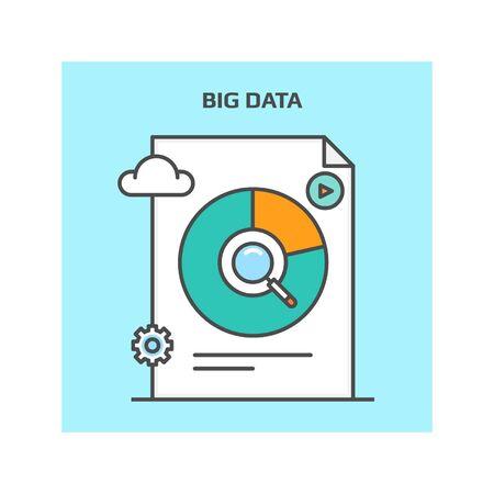 metrics: Big data icon vector , concept of big data isolated on blue background Illustration