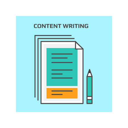 Content writing, development, creation conceptual vector icon