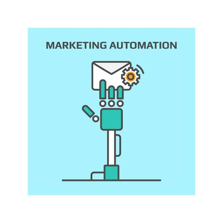 digital marketing: Marketing automation line vector illustration for digital marketing concept