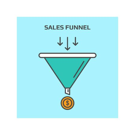 Thin line concept of sales funnel, sales lead generation vector illustration icon Illustration