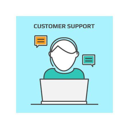 Dünn Linie Konzept der Kunden-Support, Kundenservice, Helpdesk Vektor-Illustration-Symbol