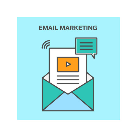 digital marketing: Thin line concept of email marketing, digital marketing, internet marketing vector illustration icon