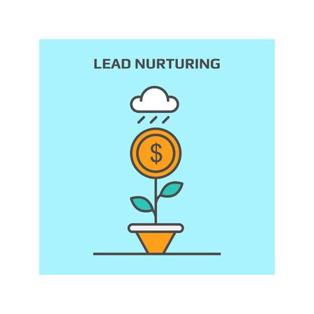 Dünne Linie Konzept der Lead-Pflege in Business-Vektor-Illustration Symbol