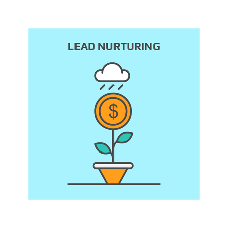 Thin line concept of lead nurturing in business vector illustration icon Çizim