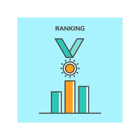 concepto de clasificación de motores de búsqueda, ocupando el sitio web del icono del vector