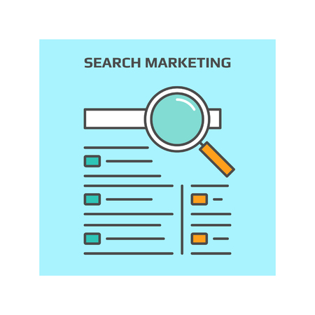 search engine marketing: Search marketing vector icon, Search engine marketing concept