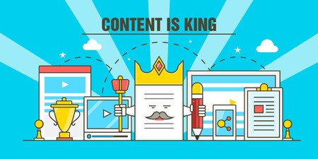 Content is king - A concept of digital content marketing strategy vector illustration Çizim