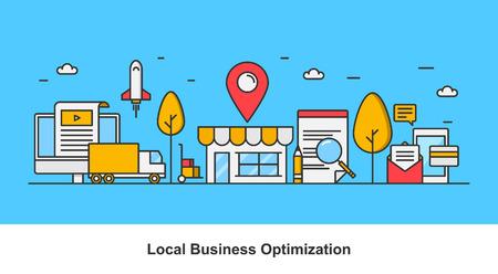 Lokalny marketing biznesowy - koncepcja optymalizacji firmy lokalnej Ilustracje wektorowe