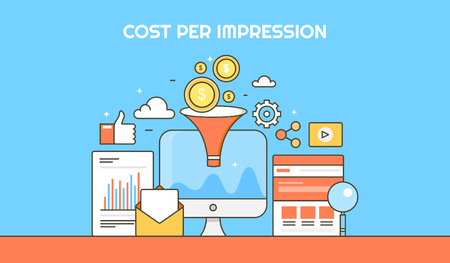 Flat vector concept for cost per impression, cost per lead, paid marketing campaign with icons isolated on blue background