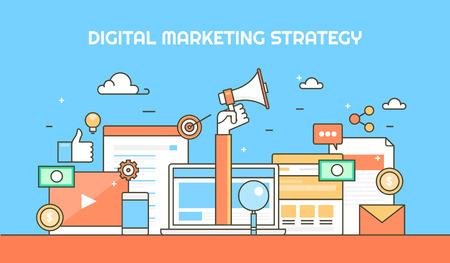 Flat design concept for digital marketing, social media, seo and various inbound marketing strategies