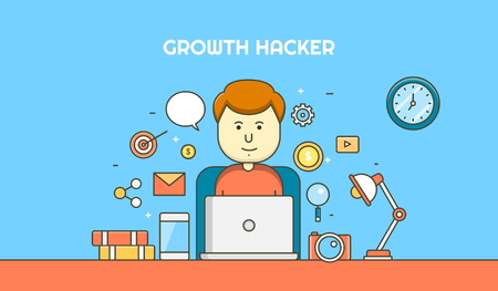 smart goals: Growth hacker researching for most effective ways of growth hacking for business improvement thin line vector banner Illustration
