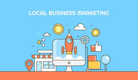ローカル ビジネスの最適化、マーケティング、e コマースのアイコンで、マーケティングの後押しのフラット ライン ベクトル概念