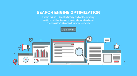 Thin line vector concept for search engine optimization, digital marketing and social media isolated on blue background Illustration