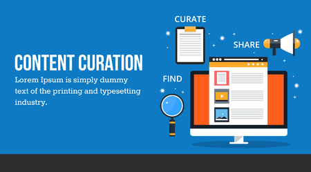 Content curation, concept of finding new content, organize and publication, modern digital content marketing and sharing idea. Çizim