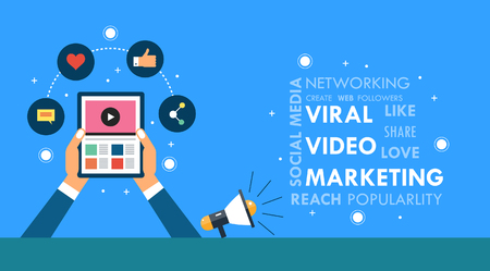 viewer: Viral video marketing concept, hand holding a smart tablet with word cloud. Flat design vector illustration for web and print. Illustration