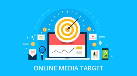 Digital media, target audience marketing concept. Flat design vector banner.