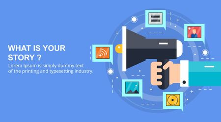 Visual storytelling - what is your story - flat design vector banner concept