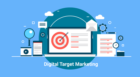 oriented: Digital target marketing, concept of inbound strategy, customer oriented marketing. Flat design vector banner with icons Illustration
