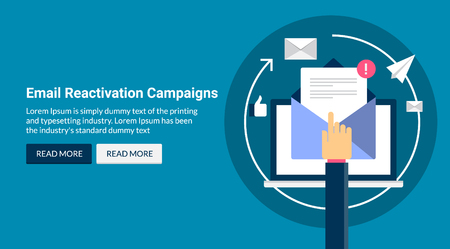 Email reactivation campaign, modern email marketing,flat design vector banner concept Illustration
