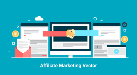Concept of profitable affiliate marketing,referral marketing, flat design vector banner