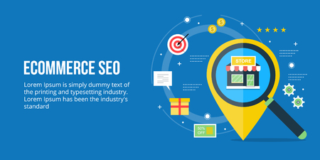 Ecommerce seo, search engine optimization for ecommerce website, online shop optimization concept. Flat design vector banner. Stock Illustratie