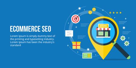 Ecommerce seo, search engine optimization for ecommerce website, online shop optimization concept. Flat design vector banner. Illustration