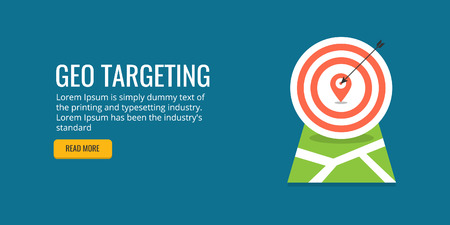 Geo targeting, location based marketing concept. Flat design vector banner.