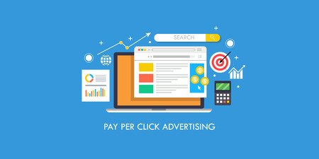 Pay per click advertising, ppc, search engine marketing, sem,seo concept. Flat design vector banner.