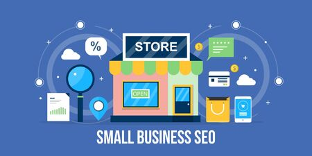 Small business seo, local business marketing, local store optimization, listing, map, search. Flat design local seo vector banner.