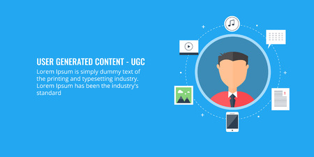 Flat design illustration of user generated content, UGC, digital content publication, online content.