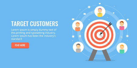 Cliente target, targeting per pubblico, concetto di lead generation di vendita. Banner vettoriale design piatto.