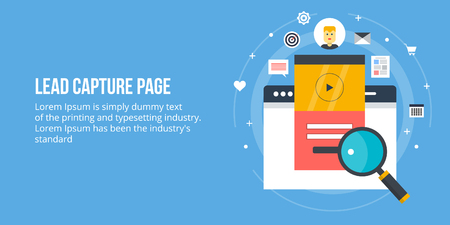 Concept of lead generation, sales lead, lead capture page. Flat design vector banner with icons. Stock Illustratie