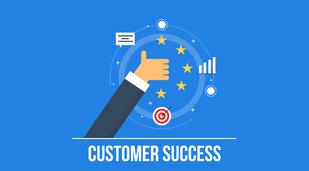 Customer success, customer review and rating, customer management concept. Flat style vector background.