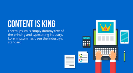 Content is king, content creation and marketing concept. Flat design vector banner on a blue background.