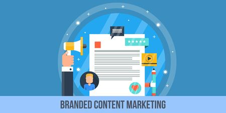 users video: Concept of content marketing, online branding, branded content promotion. Flat design vector illustration for web banner and print.