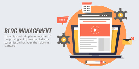 Blog management - blogging, content, post flat design vector banner.