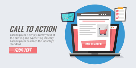 Call to action - CTA optimization, website conversion, landing page concept. Flat design vector banner. Illustration