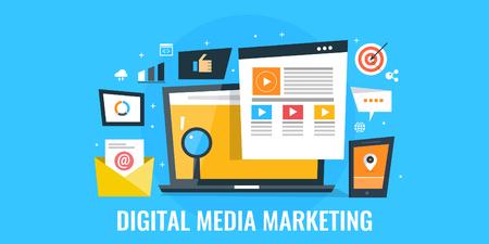 Digital media marketing - digital advertising, web promotion concept. Flat design digital marketing banner. Vectores