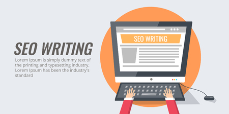Seo writing - copy writing, content creation, optimization, blogging. Flat design vector banner.