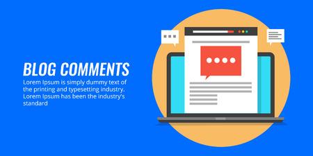 Comentários do blog - comentário do público em um post do blog, comunidade, comentários, feedback, conceito de blogging, ilustração vetorial design plano.