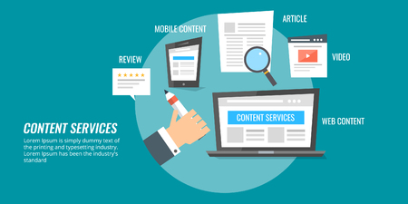 Content writing service hand holding a pen in front of a laptop computer, seo copy writing concept. Flat design vector illustration.