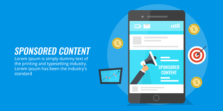 Sponsored content, native advertising, paid digital media content on a mobile screen. Flat design marketing vector banner. Vectores