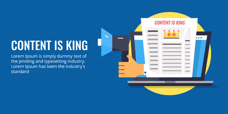 Content is king, web content displaying on laptop screen, hand holding a megaphone for content promotion. Flat design vector illustration.